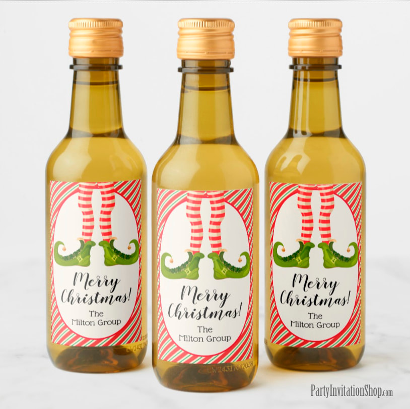 Mini Wine Bottle Labels - PERSONALIZED - Jolly Christmas Elf Legs at PartyInvitationShop.com