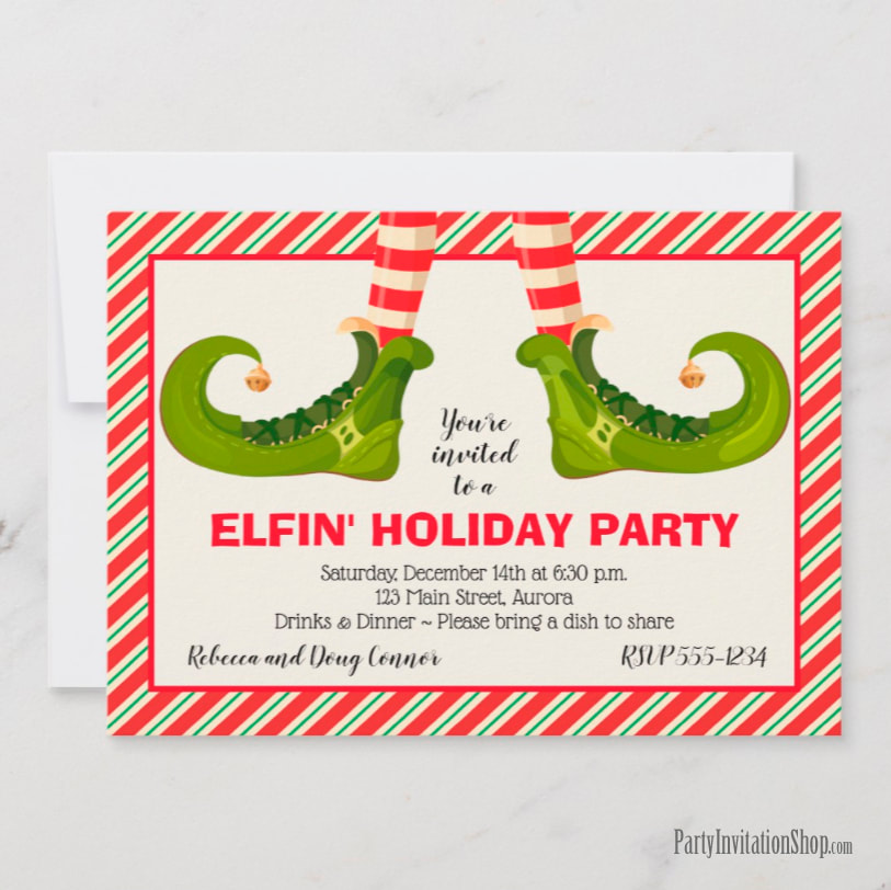 Party Invitations: Jolly Christmas Elf Legs at PartyInvitationShop.com