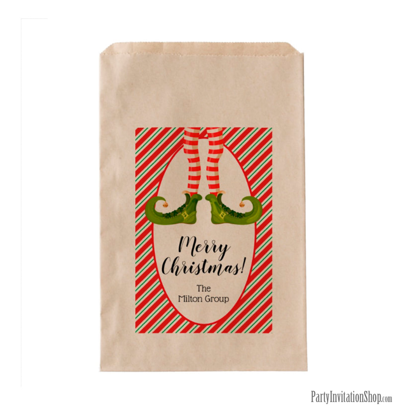 Party Favor Bags - Jolly Christmas Elf Legs at PartyInvitationShop.com