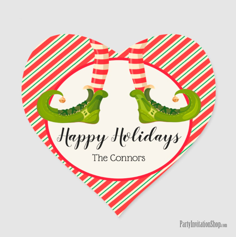 Heart Shape Stickers with Jolly Christmas Elf Legs at PartyInvitationShop.com