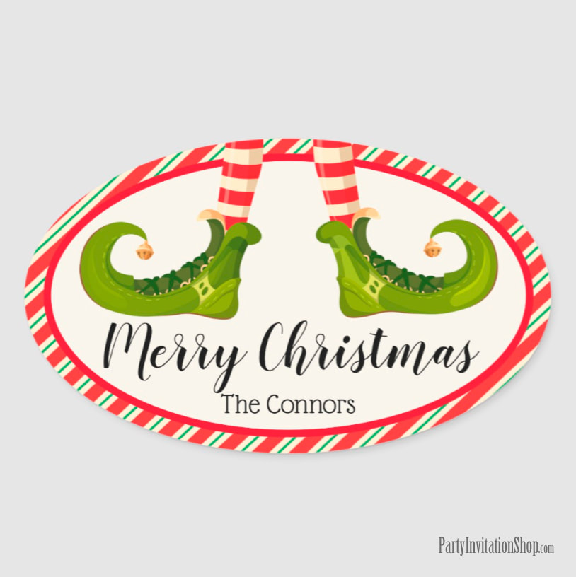 Oval Stickers with Jolly Christmas Elf Legs at PartyInvitationShop.com