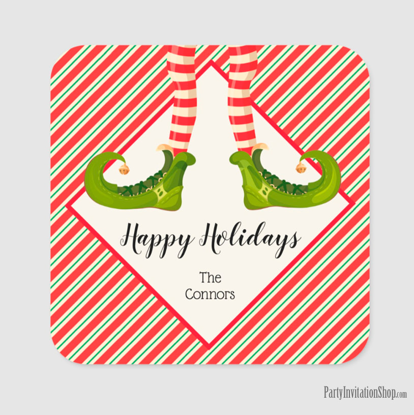 Square Stickers with Jolly Christmas Elf Legs at PartyInvitationShop.com