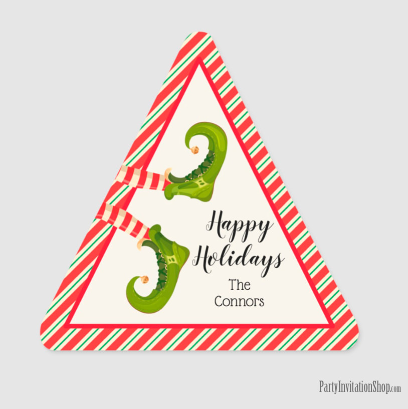 Triangle Shape Stickers with Jolly Christmas Elf Legs at PartyInvitationShop.com