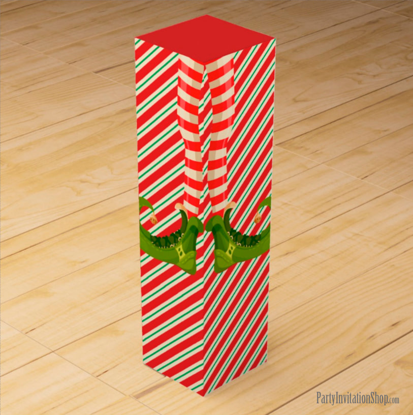 Wine Gift Box - Jolly Christmas Elf Legs at PartyInvitationShop.com