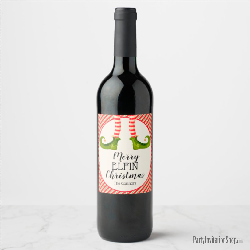 Wine Bottle Labels - PERSONALIZED - Jolly Christmas Elf Legs at PartyInvitationShop.com