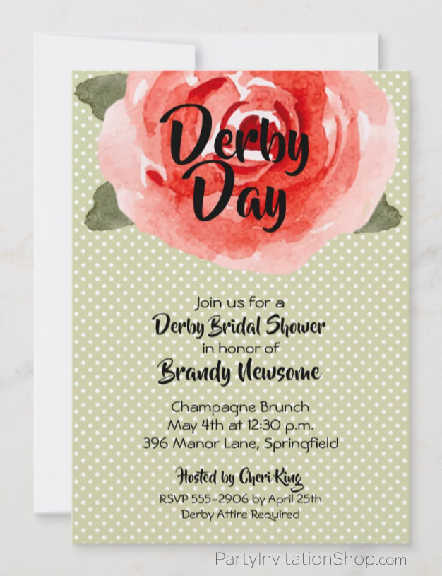 Derby Bridal Shower Invitations: Red rose on white polka dotted lime background Kentucky Derby Party Invitations. PartyInvitationShop.com