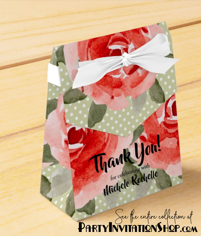 Kentucky Derby red roses on white polka dotted lime background Party Favor Boxes. PartyInvitationShop.com