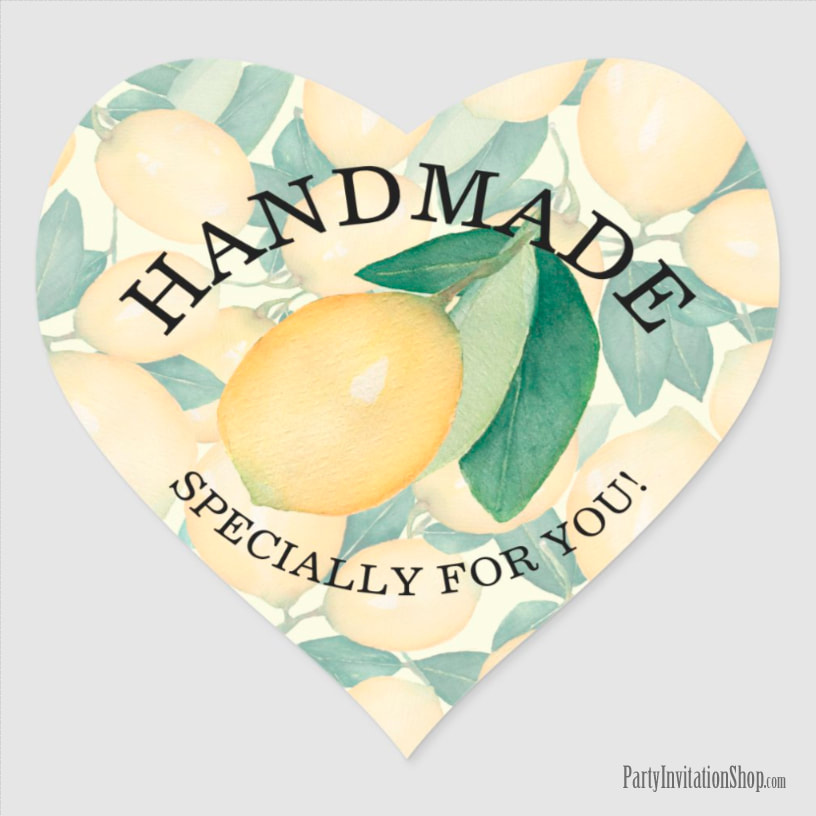 Watercolor Painting Lemons and Leaves HANDMADE Heart Sticker