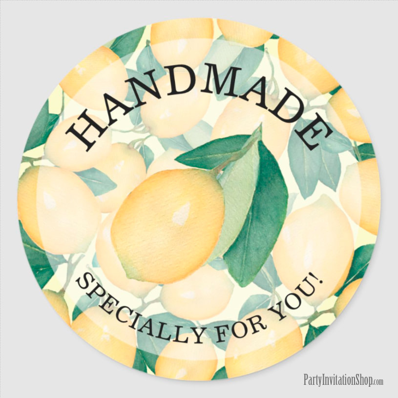 Watercolor Lemons HANDMADE for You | Canning Gifts Classic Round Sticker