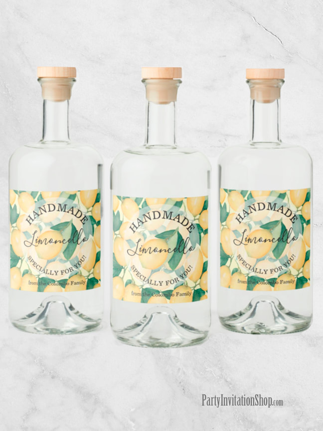 Rustic Tuscan Lemons and Greenery PERSONALIZED Liquor Bottle Labels | See the entire collection at PartyInvitationShop.com