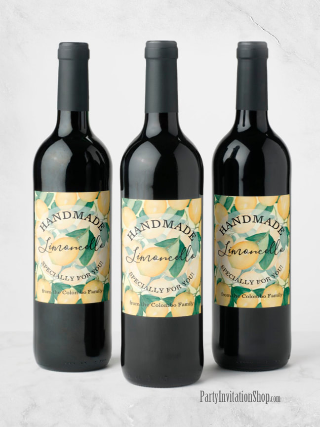 Rustic Tuscan Lemons and Greenery PERSONALIZED Wine Bottle Labels | See the entire collection at PartyInvitationShop.com