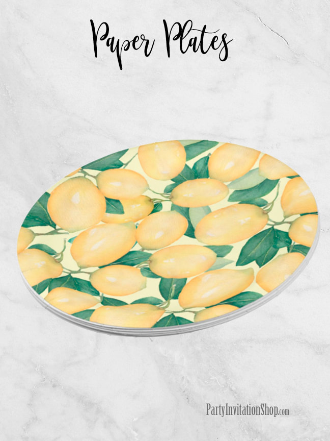 Rustic Tuscan Lemons and Greenery Paper Plates | See the entire collection at PartyInvitationShop.com