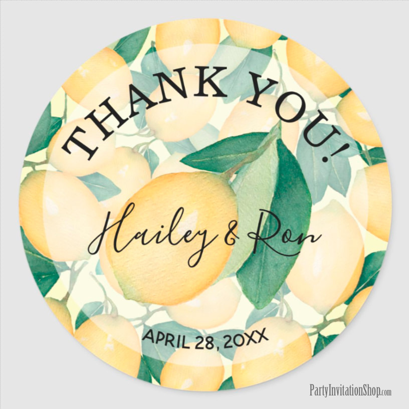 Rustic Watercolor Lemons Leaves Greenery THANK YOU Classic Round Sticker