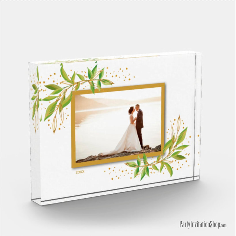 Gold and Green Watercolor Foliage Photo Block