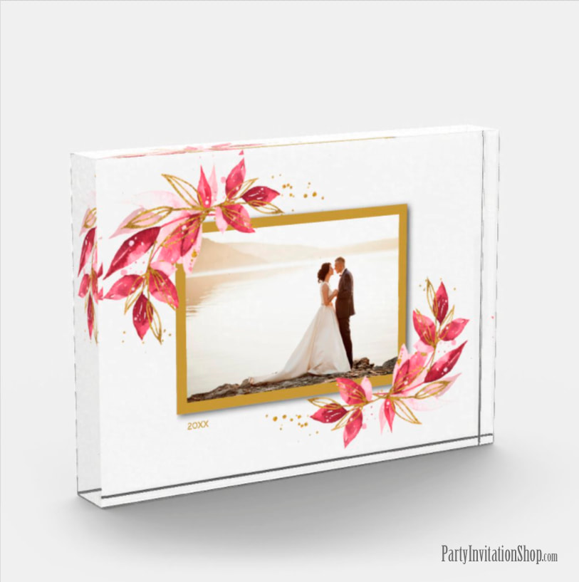 Red and Gold Watercolor Foliage Photo Block