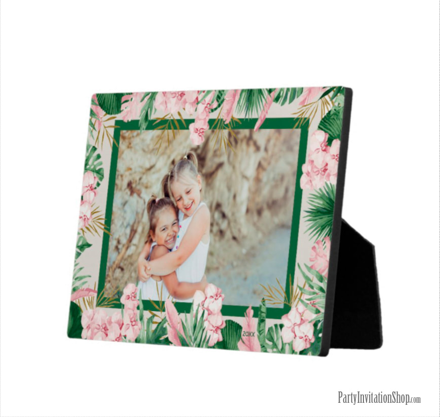 Tropical Watercolor Floral Border Photo Easel Plaque