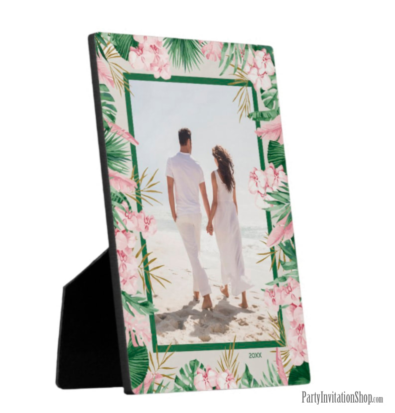 Tropical Floral Border Tabletop Photo Easel Plaque