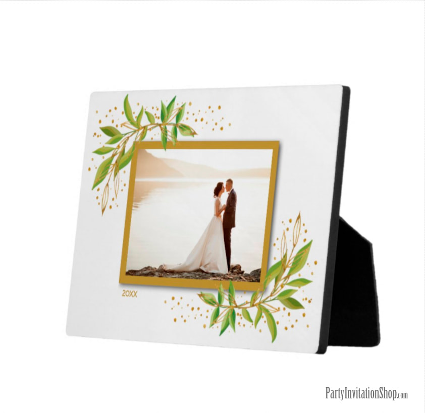 Gold and Green Watercolor Foliage Photo Easel Plaque