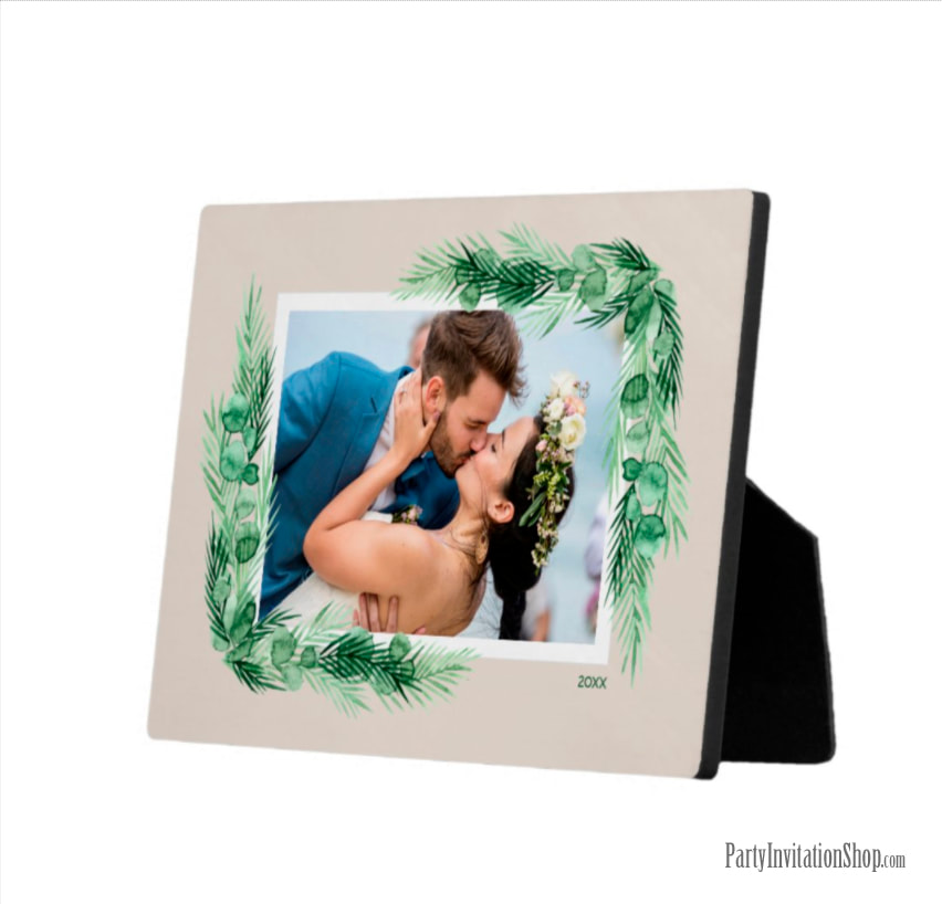 https://www.zazzle.com/watercolor_greenery_border_photo_easel_plaque-200439111489072612