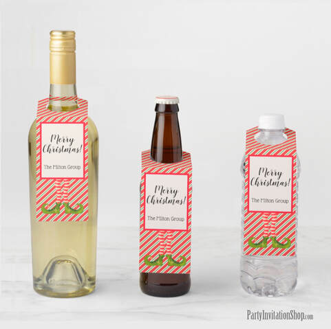 Beverage Bottle Hangers - Jolly Christmas Elf Legs at PartyInvitationShop.com