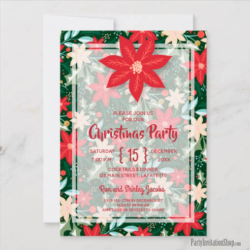 Poinsettia Christmas Holiday Party Invitations at PartyInvitationShop.com