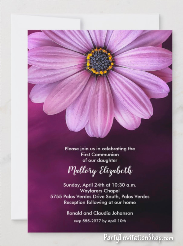 Purple Daisy Invitations for birthday, bridal shower, baptism, christening, first communion, anniversary and more PLUS coordinating party supplies. PartyInvitationShop.com