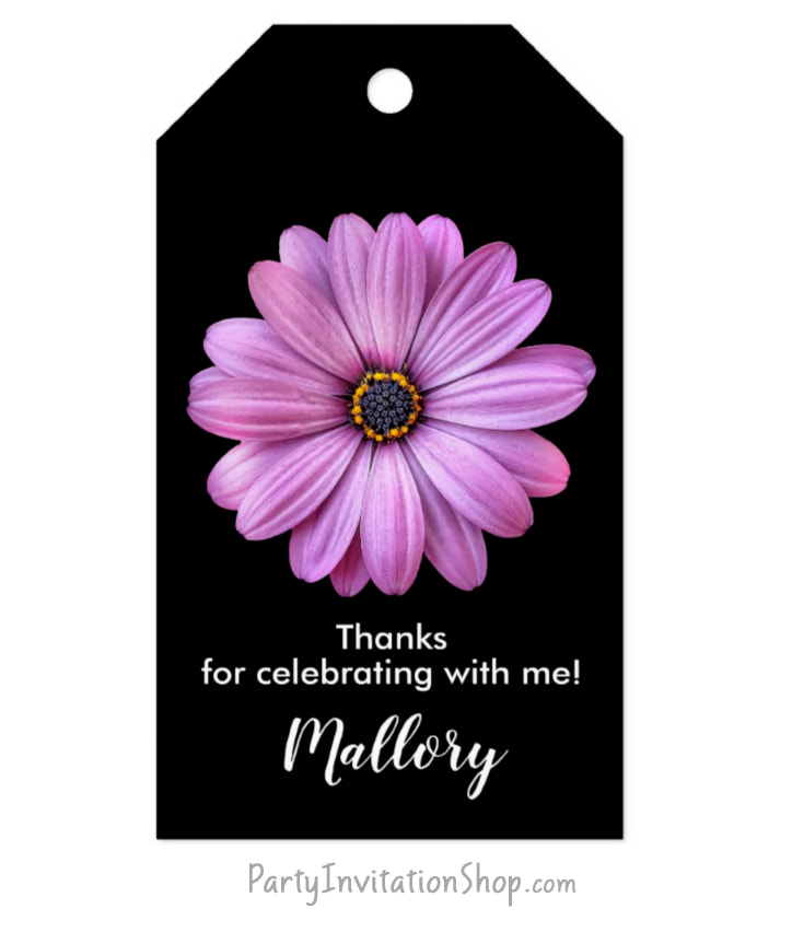 Purple Daisy on black gift tags for birthday, bridal shower, baptism, christening, first communion, anniversary and more PLUS coordinating party invitations and party supplies. PartyInvitationShop.com