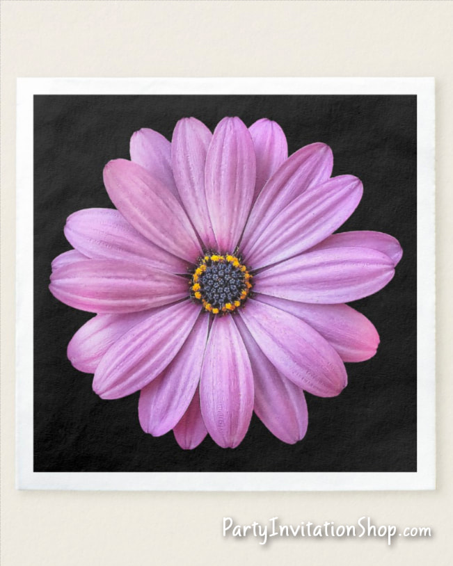 Purple Daisy on black paper party napkins in 2 sizes for birthday, bridal shower, baptism, christening, first communion, anniversary and more PLUS coordinating party invitations and party supplies. PartyInvitationShop.com