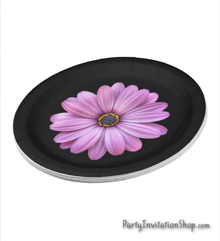 Purple Daisy on black paper party plates in 2 sizes for birthday, bridal shower, baptism, christening, first communion, anniversary and more PLUS coordinating party invitations and party supplies. PartyInvitationShop.com