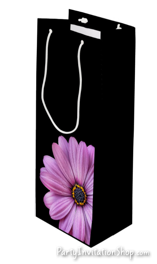 Purple Daisy on black gift bags in several sizes for birthday, bridal shower, baptism, christening, first communion, anniversary and more PLUS coordinating party invitations and party supplies. PartyInvitationShop.com