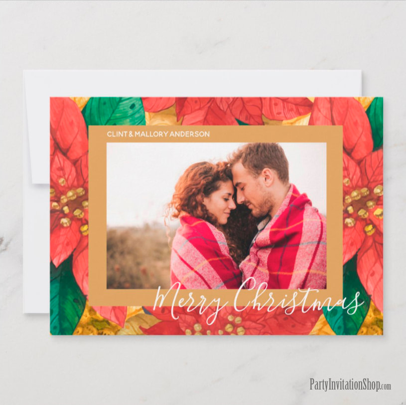 Photo Holiday Christmas Cards - Red and Gold Poinsettias Collection at PartyInvitationShop.com