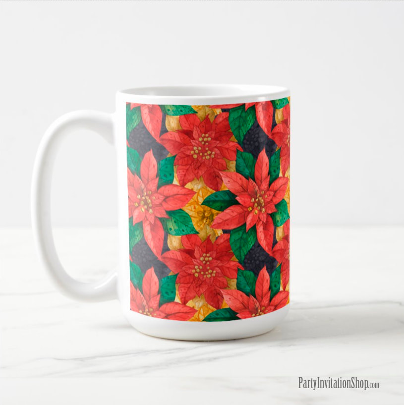 Coffee Mug in the Red and Gold Poinsettias Collection at PartyInvitationShop.com