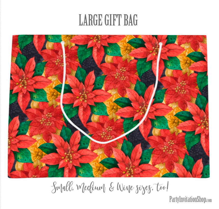 Large Gift Bag in the Red and Gold Poinsettias Collection at PartyInvitationShop.com