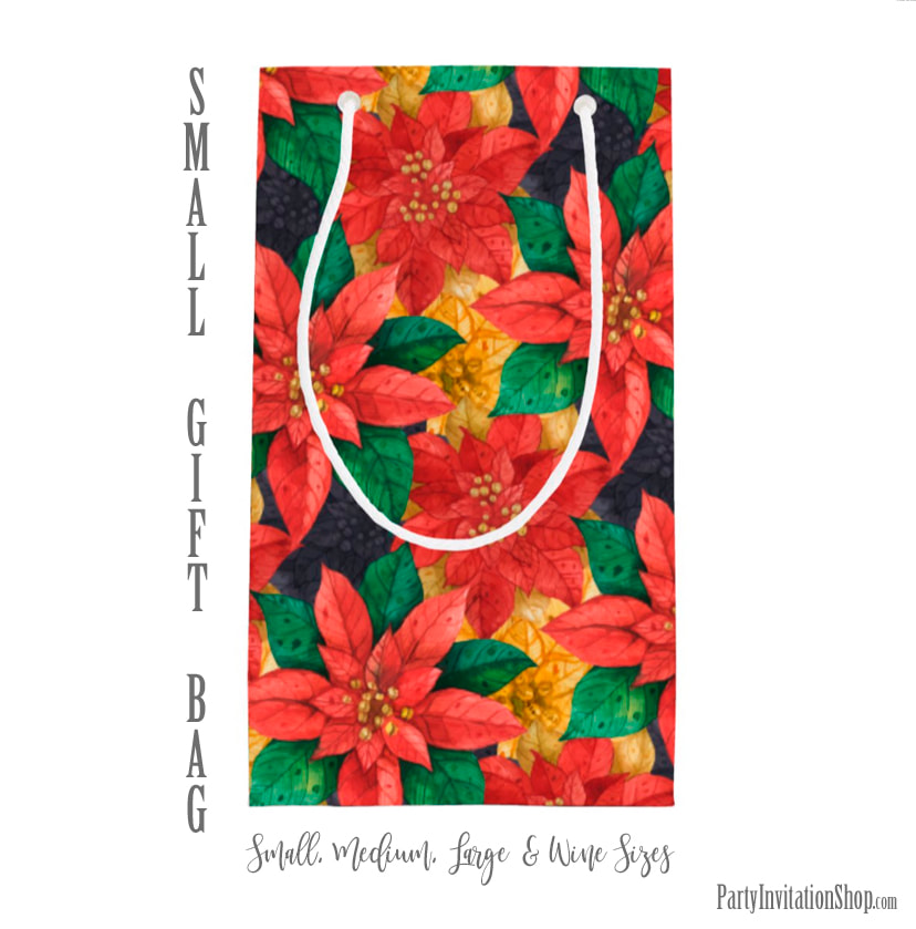 Small Gift Bag in the Red and Gold Poinsettias Collection at PartyInvitationShop.com