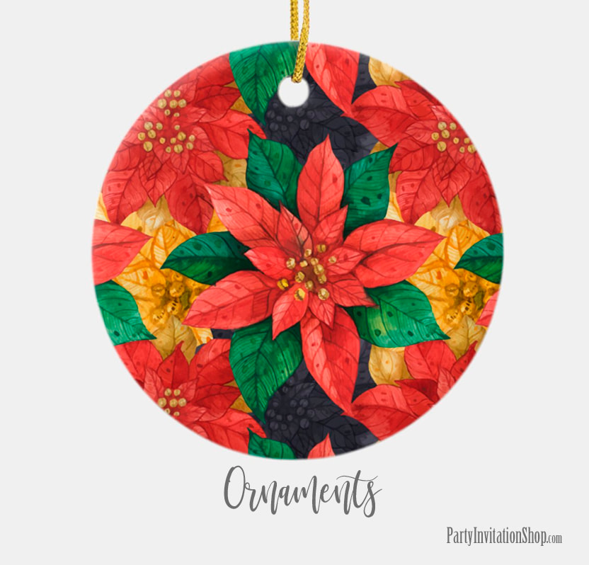 Christmas Ornaments in the Red and Gold Poinsettias Collection at PartyInvitationShop.com