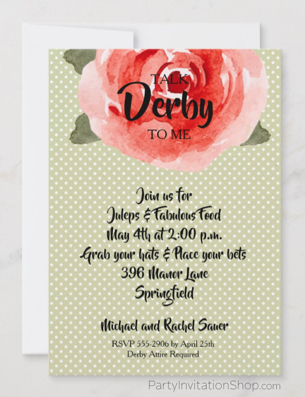 Red rose on white polka dotted lime background Kentucky Derby Party Invitations. PartyInvitationShop.com