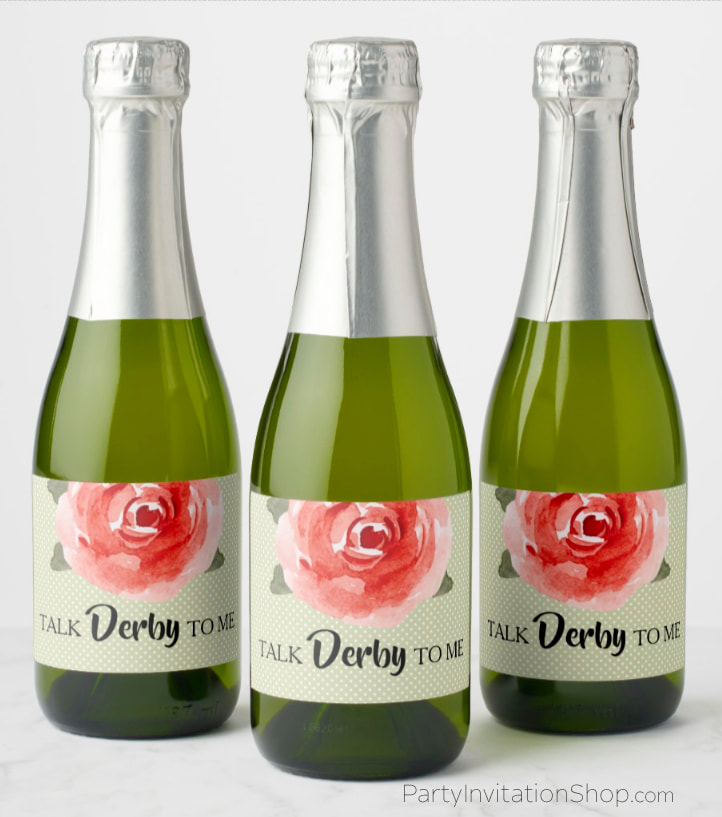 Red rose on white polka dotted lime background Kentucky Derby themed mini champagne bottle personalized labels. PartyInvitationShop.com