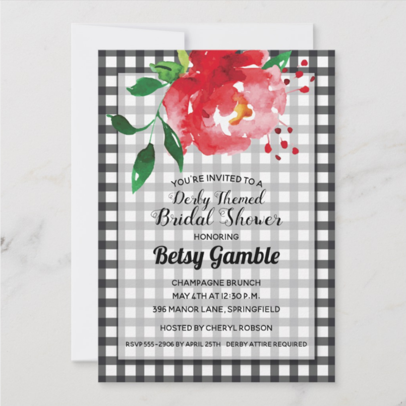 Rose on Gingham Kentucky Derby Party Invitations, Derby Bridal Shower Invitations + Party Supplies, Favor Boxes and more. PartyInvitationShop.com