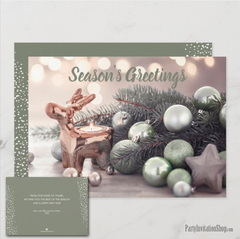 Green Ornaments Reindeer Christmas Holiday Greeting Cards