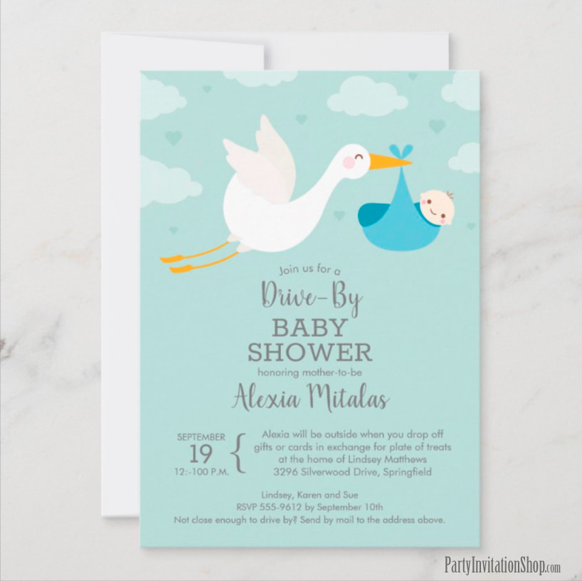 Stork Boy Baby Bundle DRIVE-BY Baby Shower Invitations