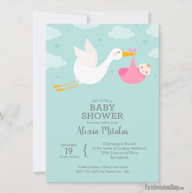Stork and Baby Girl on Mint Baby Shower Invitations