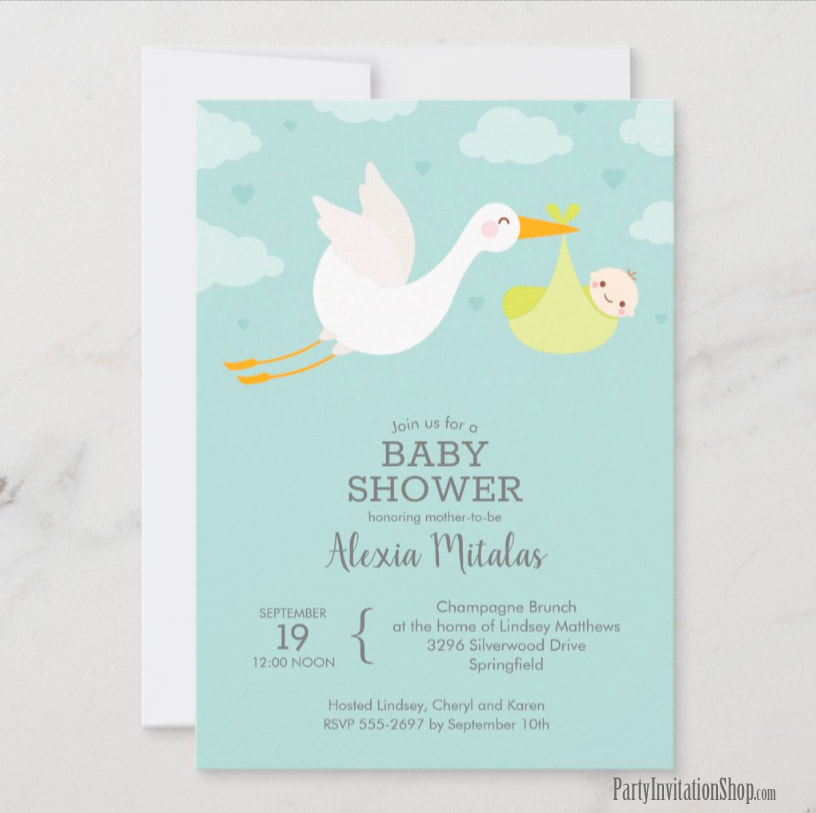 Stork and Yellow Bundle Baby Shower Invitations