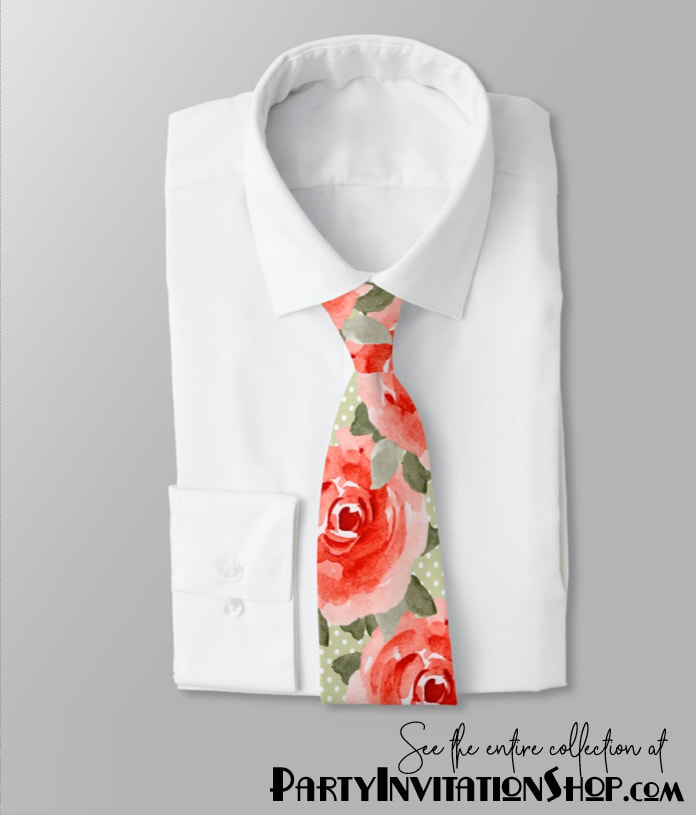 Kentucky Derby Roses Men's Tie: Red roses on white polka dotted lime background. See the entire collection at PartyInvitationShop.com