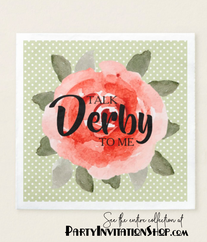 Kentucky Derby Paper Napkins: Red roses on white polka dotted lime background. See the entire collection at PartyInvitationShop.com