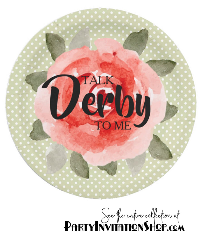 Kentucky Derby Paper Plates: Red roses on white polka dotted lime background. See the entire collection at PartyInvitationShop.com