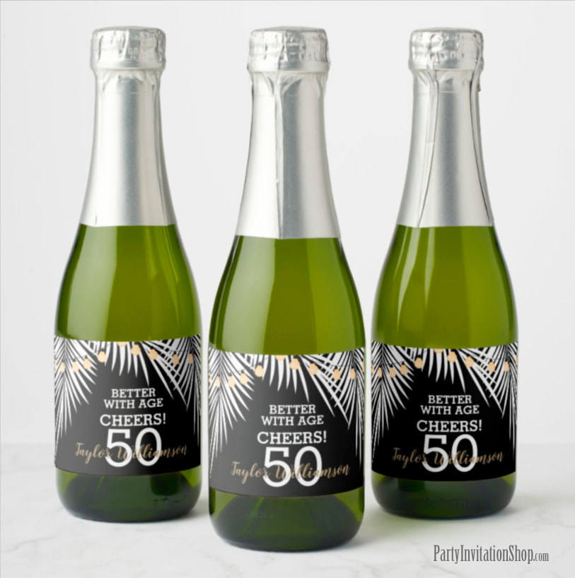 Better with Age Mini Champagne Labels - White Palm Fronds on Black