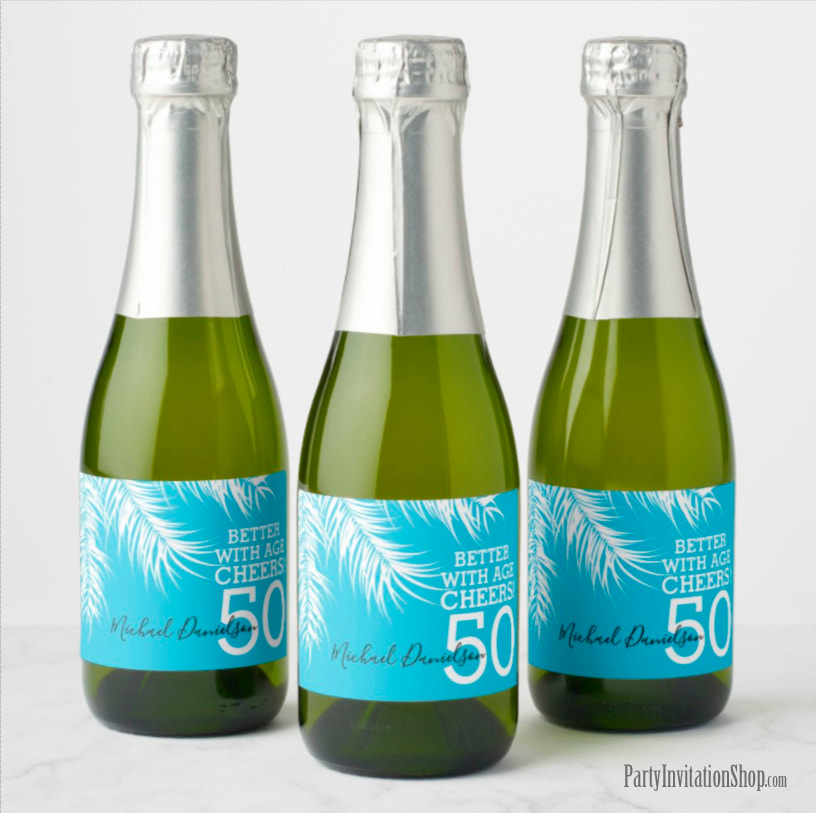 Better with Age Mini Champagne Labels - White Palm Fronds on Blue