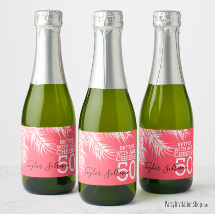 Better with Age Mini Champagne Labels - White Palm Fronds on Bright Pink