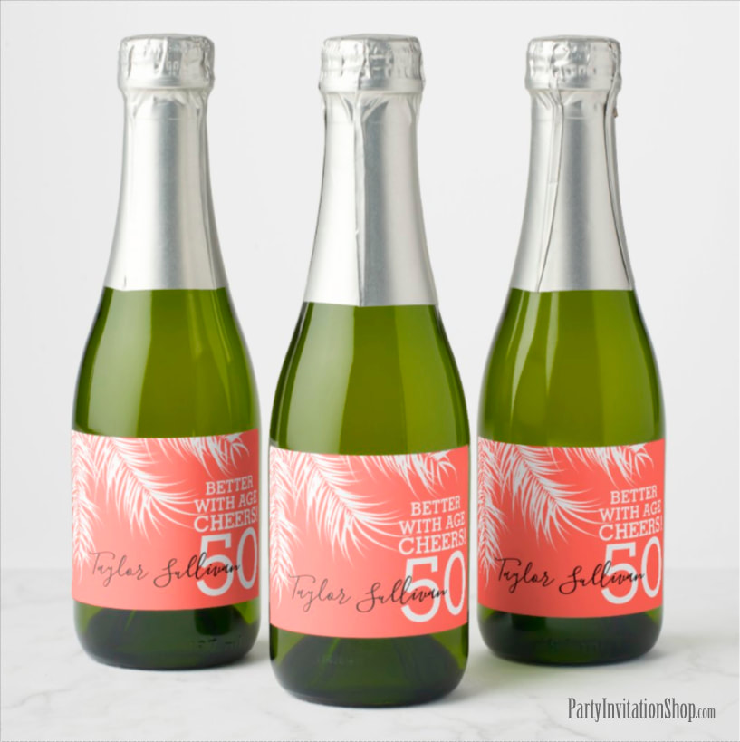 Better with Age Mini Champagne Labels - White Palm Fronds on Bright Salmon Pink