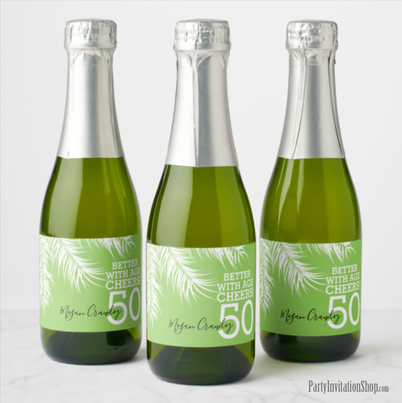 Better with Age Mini Champagne Labels - White Palm Fronds on Green